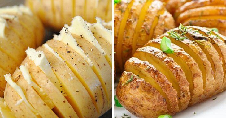 טיפים למטבח: תפוח אדמה חתוך בחלקו וממולא בחמאה