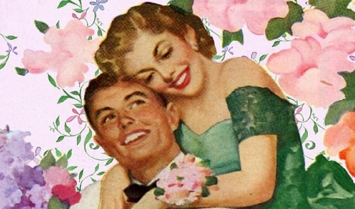 סימנים שגבר אוהב ומאוהב: זוג מאוהב בתמונת וינטג'