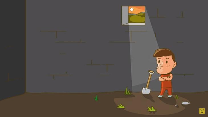 חידות: איש עומד בתוך תא כלא בעל רצפת אדמה עם את חפירה לידו וחלון מעליו