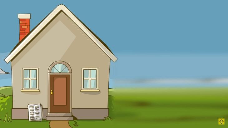 חידות: איור של בית קרקע עם עיתון מונח בפתח דלתו