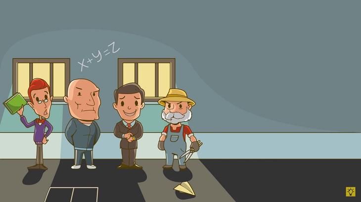 חידות: איור של גנן, איש בחליפה, איש שרירי ומורה עם ספרים