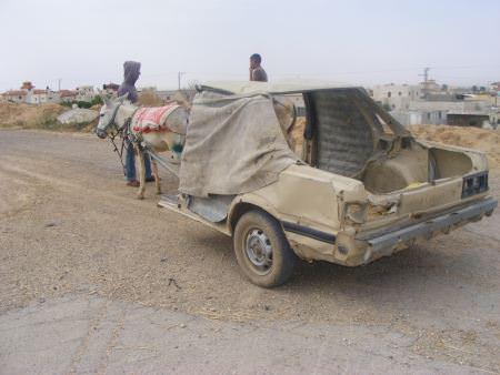 רק בישראל: נתפס נוהג ברכב ישן רתום לחמור
