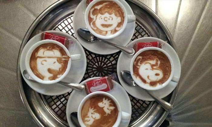 ציורים מדהימים בקצף של קפה