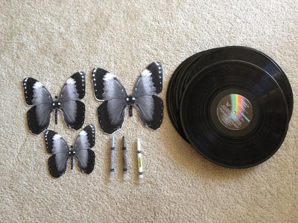 פרפרי תקליט - רעיון מקסים לעיצוב וינטג`!