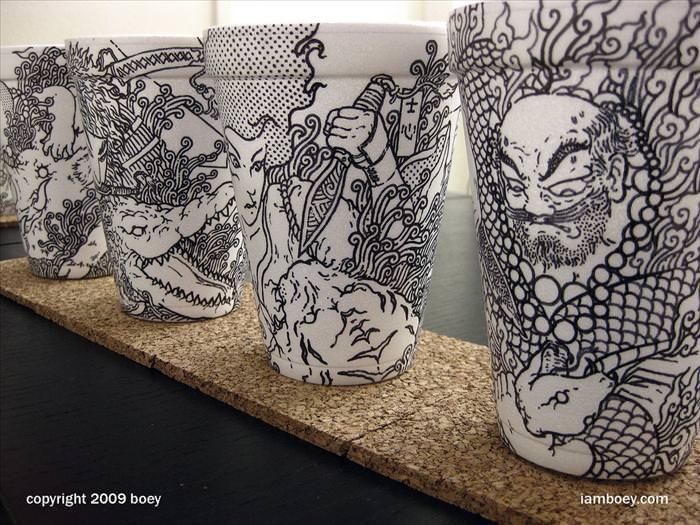 אמנות מדהימה בכוסות קפה