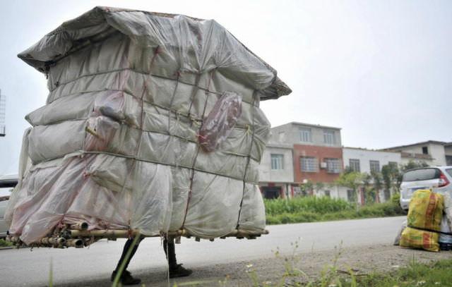 סיני שנושא את ביתו על גבו