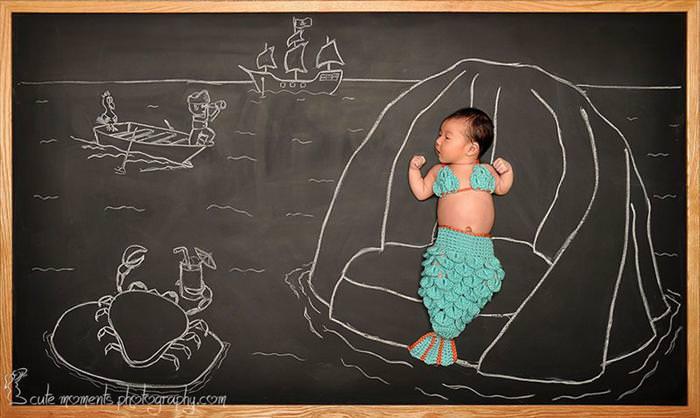 תינוקת חמודה בסדרת תמונות משעשעת