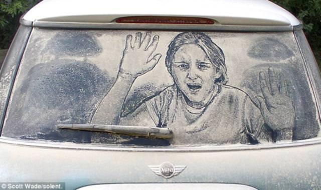 ציורים על מכוניות מלוכלכות