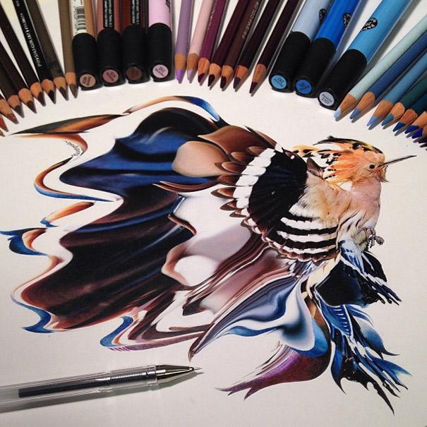 ציור בעפרונות צבעוניים שנראה כמו צילום