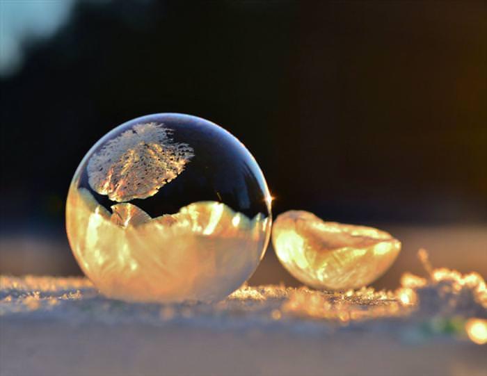 תמונות של בועות סבון קפואות