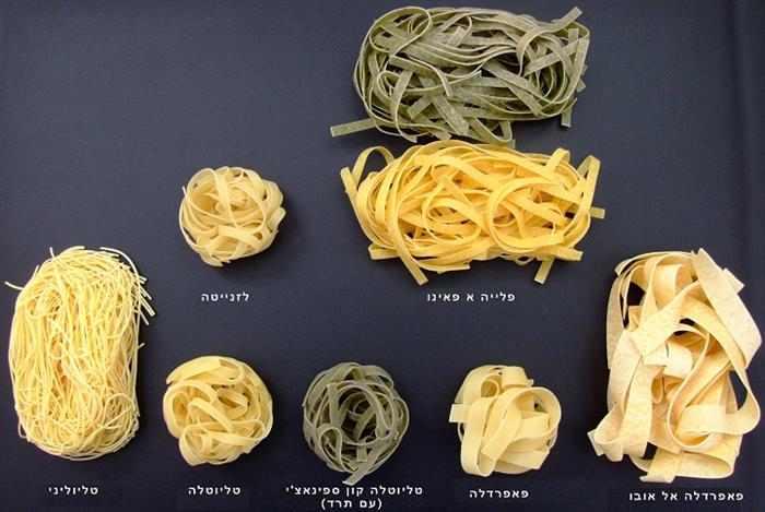 מה השמות של כל סוג פסטה?