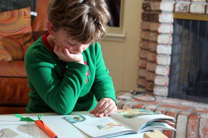 איך ללמוד נכון: ילד קטן קורא ספר בבית