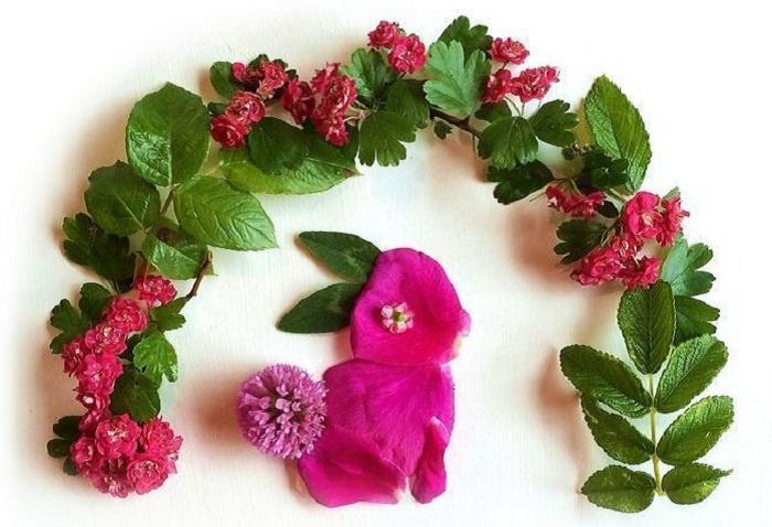 יצירות אומנות מפרחים: ארנב מתחת לקשת פרחים
