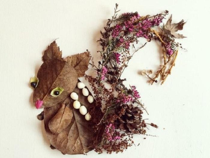יצירות אומנות מפרחים: סנאי