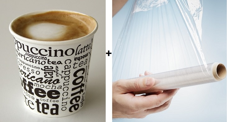 כוס קפה וניילון נצמד