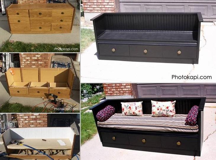 שדרוגים מיוחדים לרהיטים ישנים: ספה עם מגירות בבסיסה
