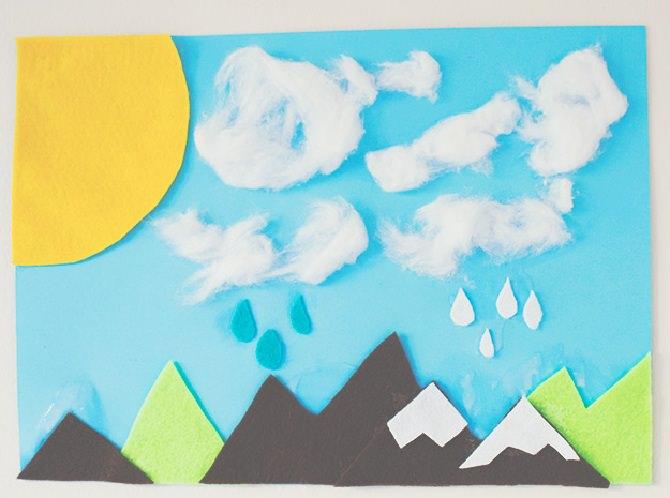 ציור עם ענני צמר גפן מודבקים