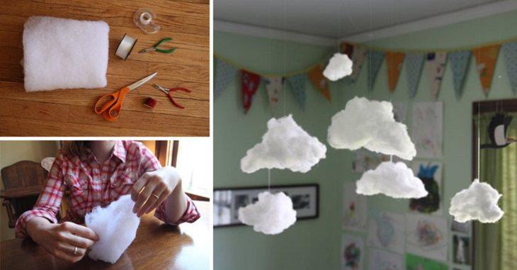 ענני צמר גפן תלויים על תקרה