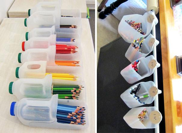 ארגוניות לחומרי יצירה מבקבוקי פלסטיק