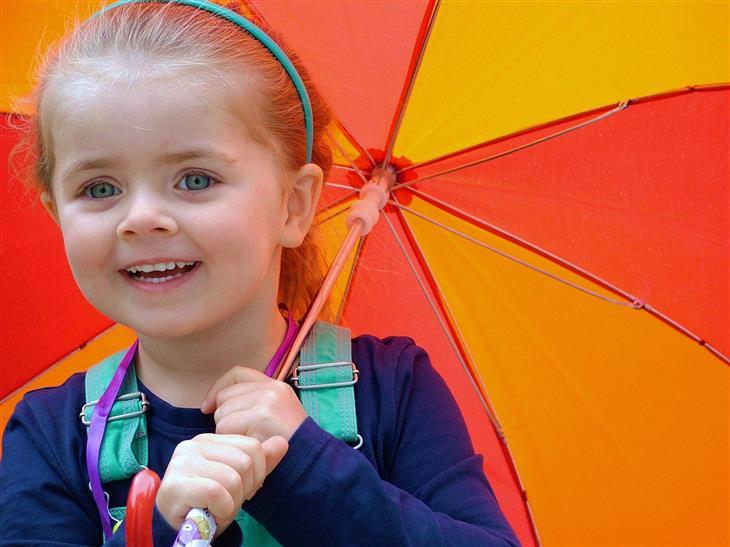 ילדה מחייכת תחת מטריה