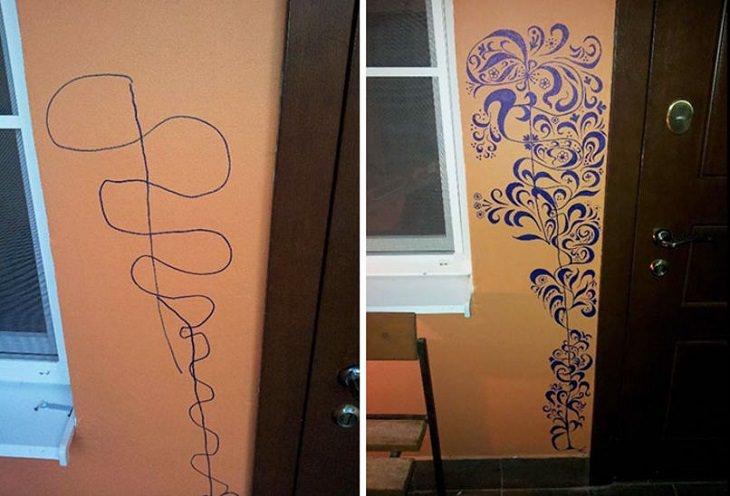 קשקוש על הקיר שהפך לציור עם צורות גיאומטריות שונות
