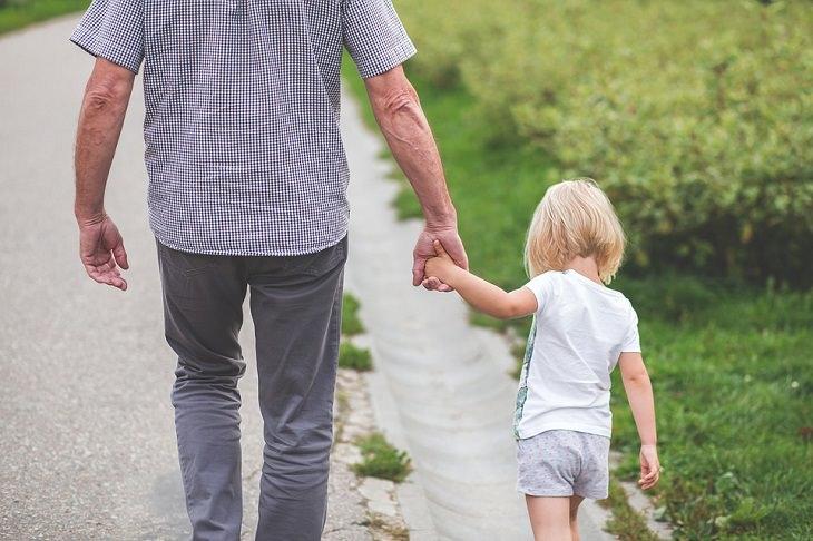 תמונה של אב שאוחזת בידה של בתו הקטנה