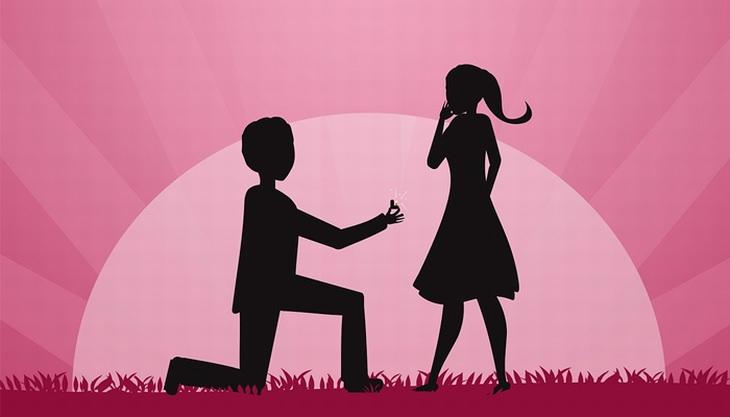 צללית של גבר קורע ברך ומציע נישואין לאישה