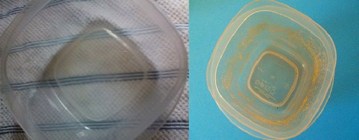 טיפים להסרת כתמים ממוצרים בבית: קופסת פלסטיק לפני ואחרי ניקיון