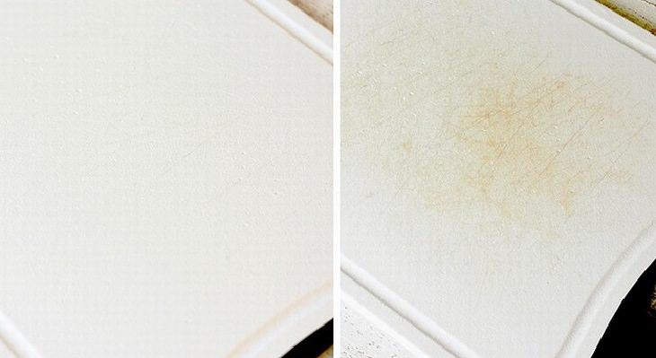 טיפים להסרת כתמים ממוצרים בבית: קרש חיתוך מפלסטיק לפני ואחרי ניקיון