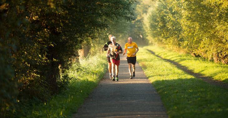 אימון הליכה מהירה: אנשים הולכים במסלול בטבע