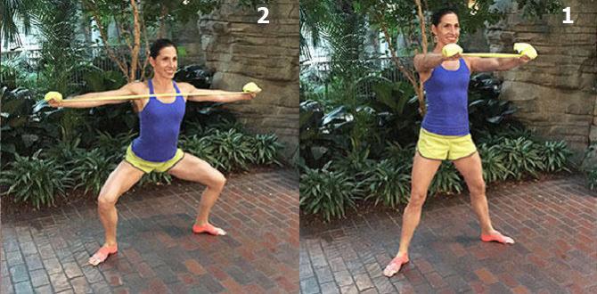 חיטוב זרועות בעזרת רצועת התנגדות: ביצוע תרגיל משיכת כתף