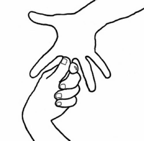 ריפוי באמצעות תנועות הידיים: תפיסת האמה ביד השנייה