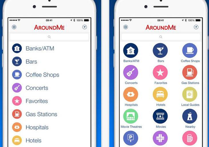 """אפליקציות לטיול בחו""""ל: צילום מסך של אפליקציית """"AroundMe"""""""