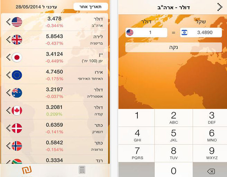 """אפליקציות לטיול בחו""""ל: צילום מסך של אפליקציית """"מטבע יציג"""""""