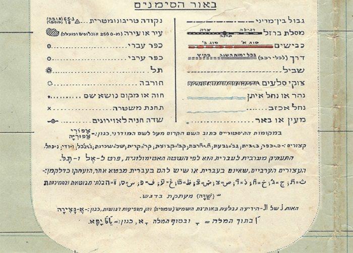 מפת ישראל 1945: הסימונים עבור הדרכים במפה