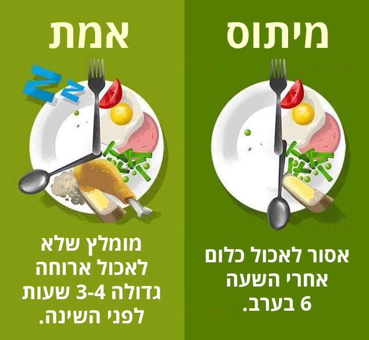 מיתוסים שגויים בנושא בריאות: מומלץ שלא לאכול ארוחה גדולה 3-4 שעות לפני השינה