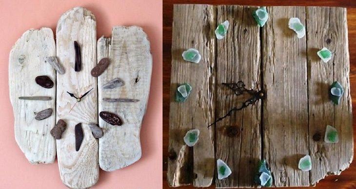 יצירות שאפשר להכין מאבנים: שעון מעץ וחלוקי נחל