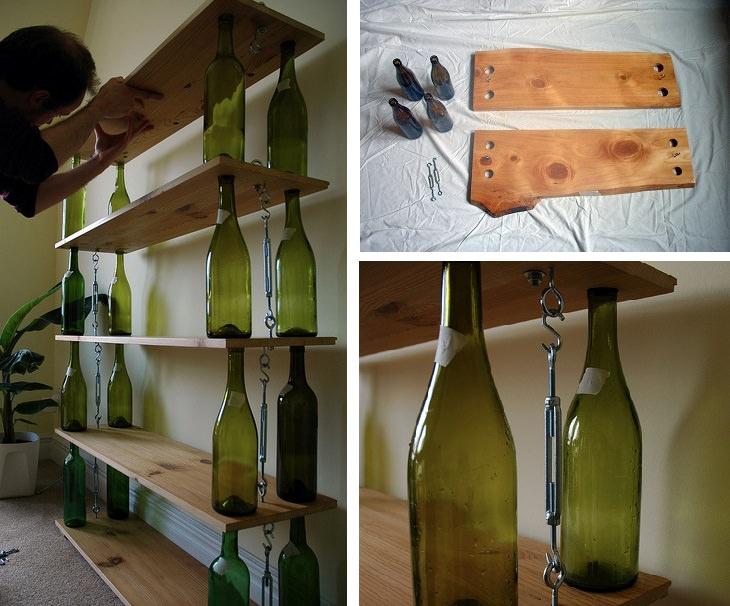 כוננית מדפים עם מוטות תמיכה מבקבוקי יין