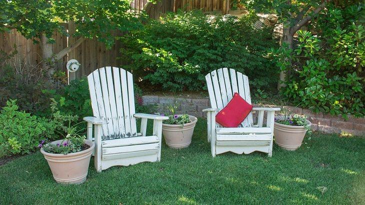 שימושים מפתיעים לבירה: שני כיסאות עץ בחצר אחורית עם שיחים ועץ
