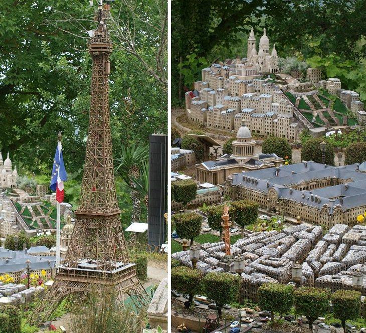 מודל מיניאטורי של פריז: קולאז' תמונות של פריז ובתמונה ניתן לראות את מגדל אייפל