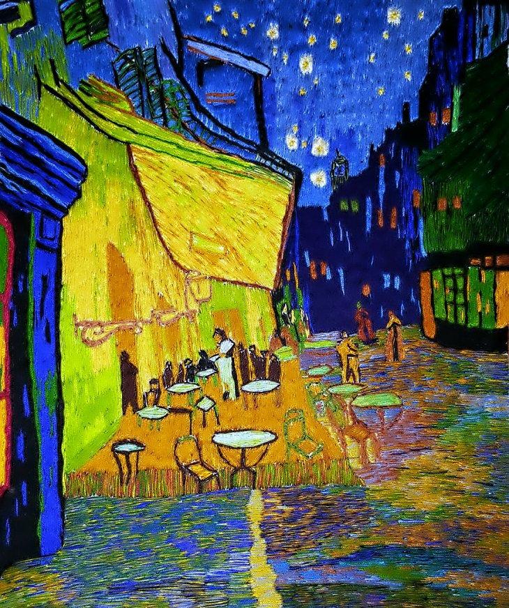 """""""מרפסת בית הקפה בלילה"""" של וינסנט ואן גוך"""