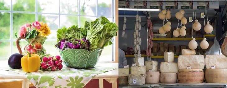 ירקות על שולחן וגבינות מסוגים שונים