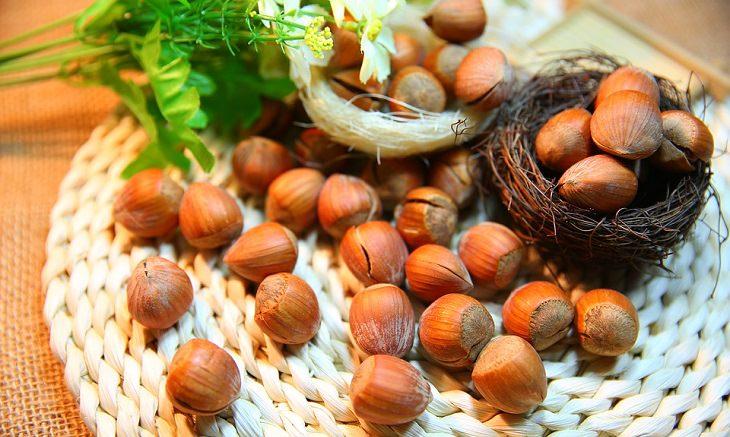 אגוזי לוז מונחים על משטח מבד