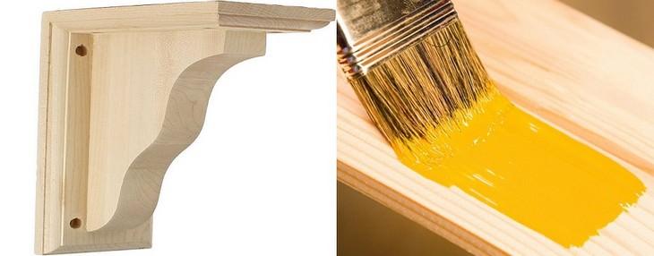זווית למדף מעץ וצביעת עץ