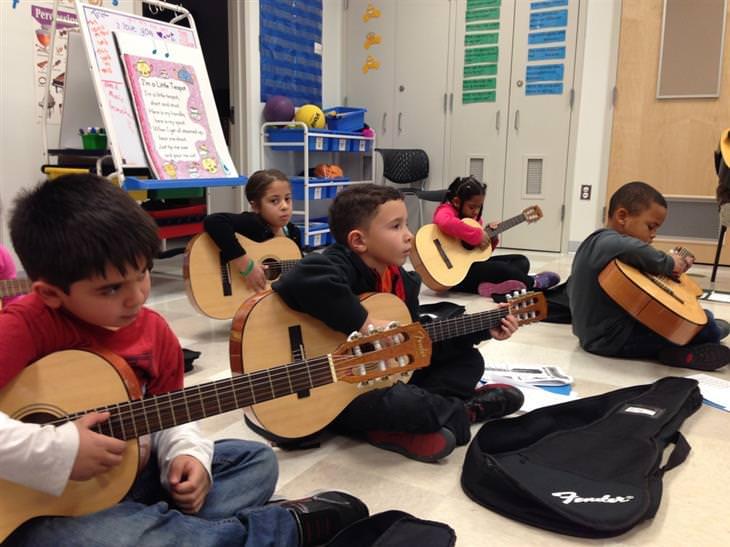 יתרונות לימוד נגינה לילדים: ילדים יושבים על הרצפה עם גיטרה בחוג נגינה