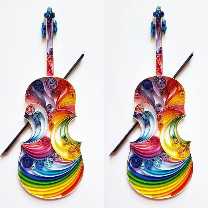 יצירות אומנות קווילינג של גרגנה פנצ'יבה: 2 כינורות