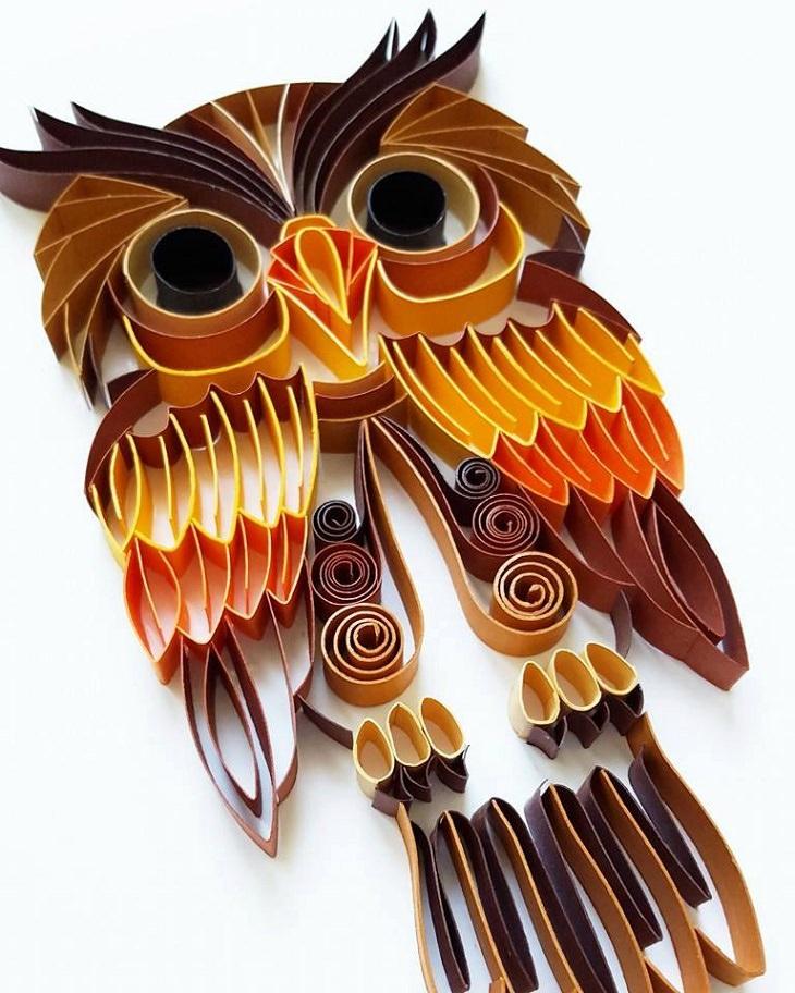 יצירות אומנות קווילינג של גרגנה פנצ'יבה: ינשוף