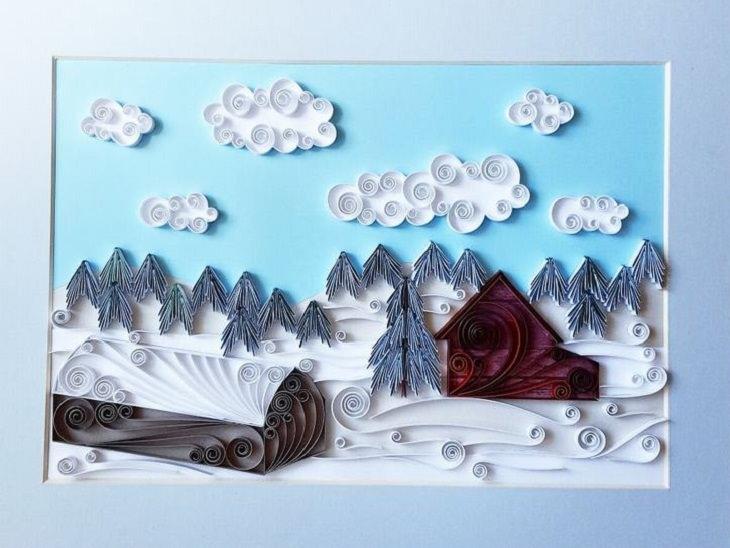 יצירות אומנות קווילינג של גרגנה פנצ'יבה: תמונה של בתים עצים ושמיים