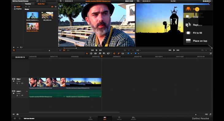 חלופות חינמיות לתוכנות מחשב מקצועיות: צילום מסך של מחשב עם תוכנת Davinci Resolve 14