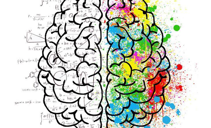 מבחני אישיות לבדיקת האינטליגנציה וכוח המוח: איור של מוח שמחולק לצד צבעוני וצד שמלא בנוסחאות
